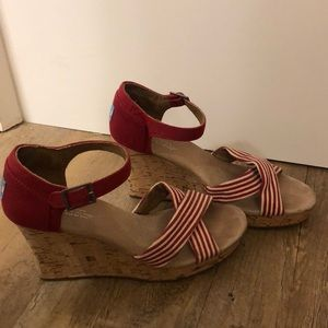 TOMS Red and White Striped Wedge